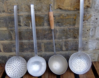 French Vintage Ladle and Skimmer Set x 4