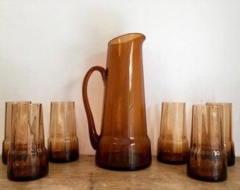 French Vintage Handblown Amber Glass Pitcher & x6 Glasses Set