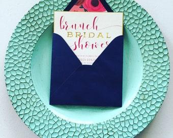 TANIA SUITE/Bridal Shower Invitation/Floral/Fuchsia/Imperial Blue/Gold Foil