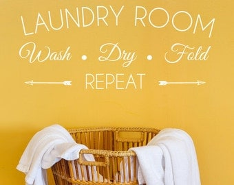 Wash Dry Fold Laundry Room Decal