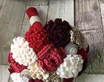 red wedding bouquet - bridesmaids bouquet - alternative bouqet -crochet bouquet - felt bouquet - button bouquet -keepsake bouquet
