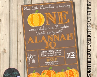 Pumpkin Birthday Invitation, Little Pumpkin Turning One Invite, Pumpkin Patch Party, Fall Harvest Birthday, Pumpkin First Invitation Digital