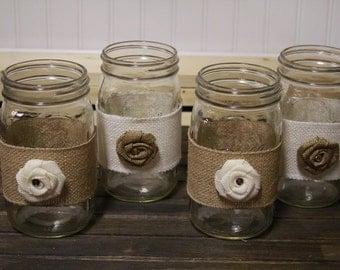 Wedding Mason Jar Set, Rustic Wedding Centerpieces, Mason Jar Decor, White Lace and Burlap Mason Jars