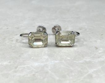 Art Deco Screw Backs, Silver Deco Earrings, 1930s Earrings, Art Deco Formal, Formal Screw Backs, 1930s Screw Backs, 30s Rhinestones, Deco