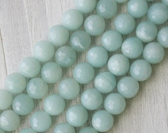 10mm Amazonite A Quality Faceted Round Beads Full Strand Jewelry Supply Light Blue Beads