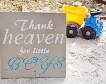 """Gender Reveal Sign, Maternity Photo Prop, Baby Shower Decor, Baby's Room. Solid Wood, Hand Painted 1-sided """"Thank Heaven for Little Boys""""."""