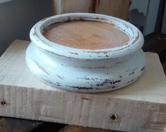 Large candle base / Distressed Shabby Chic / Decor / Christmas gift for her