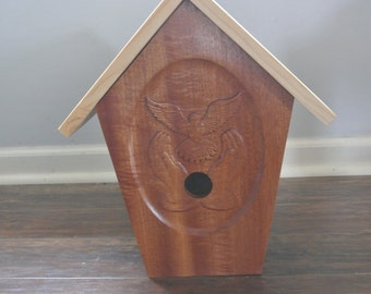 Bird House Uniquely Shaped Carved front Face