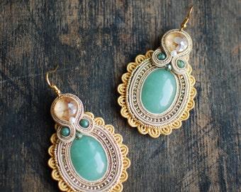 Soutache dangle earrings, Gold and green earrings with aventurine, Soutache jewelry, Embroidered earrings, Beaded earrings, FREE SHIPPING