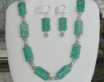 Amazonite beaded necklace  -  24