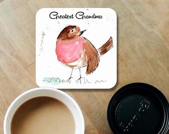 Robin coaster, wooden coaster, Greatest Grandma gift, table coaster, drink coaster, tile coaster, nanna present, coasters, grandma gift