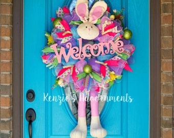 Deco Mesh Easter Wreath, Easter Wreath, Easter Bunny Wreath, Deco Mesh Spring Wreath, Spring Wreath, Deco Mesh Wreath, Welcome Wreath