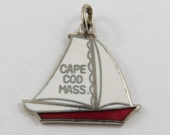Red and White Enameled Cape Cod Massachusetts Sailboat Sterling Silver Charm of Pendant.