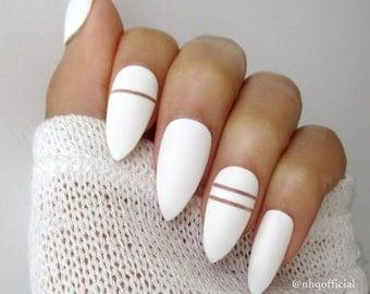 White Matte Stiletto Nails | Almond Nails | Fake Nails | Press on Nails | Negative Space