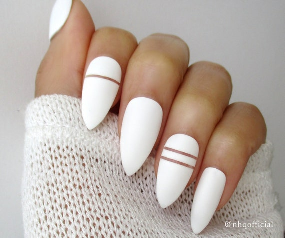 White Matte Stiletto Nails Almond Nails Fake Nails Press