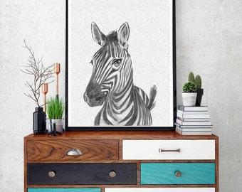 Zebra Print, Nursery Animal Wall Art, Cute Funny Zebra, Black and White Nursery Decor,  Safari African Animal Print,Nursery Printable Poster