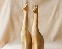 Wooden Giraffes Statue, Wooden Giraffes Figurine, Wood Carving, Hand Carved