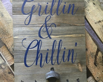 grillin and chillin pallet sign, grill sign, wood grillin and chillin sign