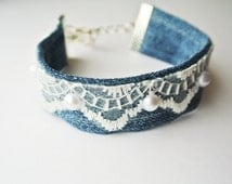 Beautiful elegant lacy denim cuff bracelet, Denim Bracelet with pearls, Denim Jewelry, Denim Bracelet Jeans, Denim Trend, denim wedding