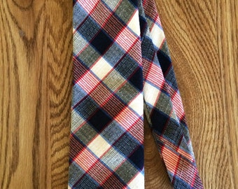 Vintage Red, White, and Blue Plaid Necktie