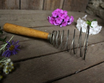 Soviet Wire Whisk Vintage egg beater  Soviet Conical Whisk Soviet Hand mixer Made in USSR era  Old Hand egg beater  Rustic kitchen décor