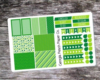 St. Patrick's Day Themed Planner Stickers - Made to fit Vertical Layout