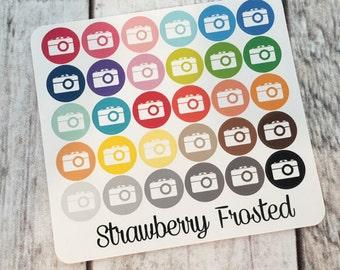 Camera----Multicolor Icon Labels---Planner Stickers