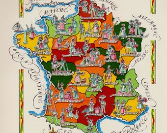 French Provinces Map Etsy - France provinces map