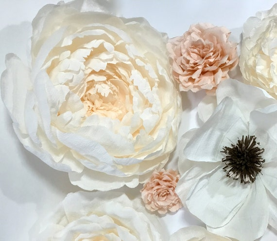 Large crepe paper peony new bloom 12 hanging paper for Crepe paper wall flowers