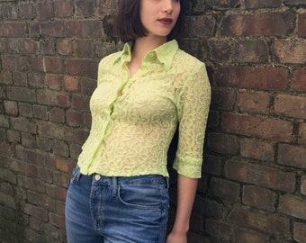 90s Sheer Blouse in Lime Green
