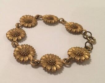 """Vintage Sunflower Link Bracelet, Gold Tone, Signed """"EH"""""""