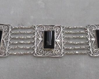 Antique Sterling Silver Filigree Link Panel Bracelet with Black Onyx Stones