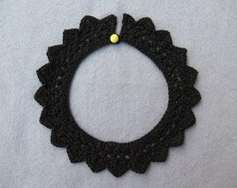 Black crochet collar