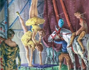 STUNNING CIRCUS BACKSTAGE Retro Illustration Digital Circus Download Vintage Circus Print Circus Art