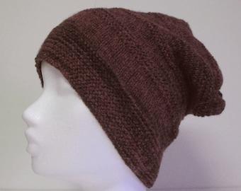 Handknittet Slouchy Beanie Handdyed Purple Wool, Handdyed Purple Slouch Hat 100%Wool, Spring and Fall knit Hat