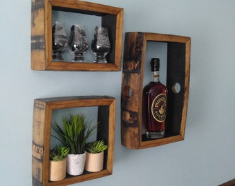 Bourbon Barrel Shadow-Box - SQUARE - Rustic Wall Art