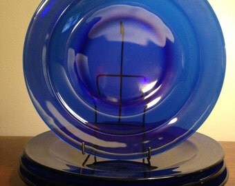 Cobalt Blue Glass Salad Plates - Set of 4 / Round Dinnerware with Lip / Blue Dishes