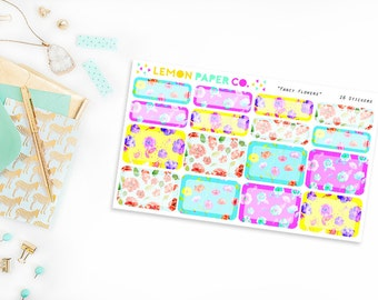 Half and Quarter Boxes // Fancy Flowers (Planner Stickers for Erin Condren Vertical and MAMBI The Happy Planner)