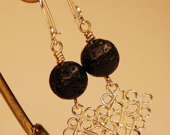 handmade earrings with lava stones of silver plated copper wire