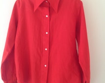 Vintage bright red retro ladies shirt, 70's red blouse, retro collar shirt