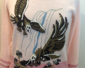 Vintage 1970's Tiffany Manor sweater with Eagle scene embroidery / stitching