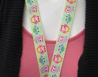 Owl lanyard breakaway handmade Id Holder