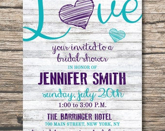 Country Chic Bridal Shower Invitation, Bridal Shower, Wedding Invitation Digital File Download