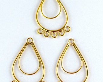 Earring Finding with 5 Jump Ring links 18K Gold Filled tear drop earring part Size 34x21mm to make your own Earring GF9063