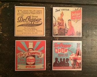 Vintage Dr. Pepper Coasters (set of 4) Handmade