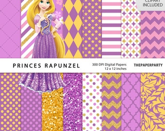 Princess Rapunzel Tangled Digital paperS kit DIY invitations, printables or personalized birthday, 12 x 12 inches