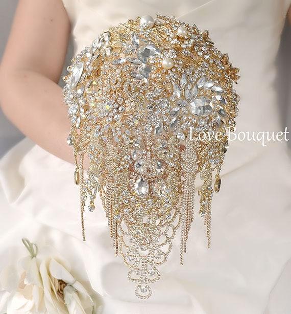 Golden Bridal Bouquet : Gold brooch bouquet wedding by lovebouquet