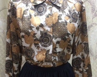 Vintage 1970s Blouse With Brown Floral Print Design, Size 14, Notations