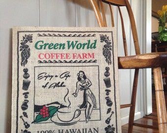 Green World North Shore Hawaii Repurposed Burlap Coffee Bag