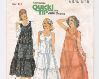 "Vintage Quick! Butterick women's tiered, maxi-dress pattern #6012, size 10, bust 32 1/2"", waist 24, ""Misses' Dress"", from the early 1970's."